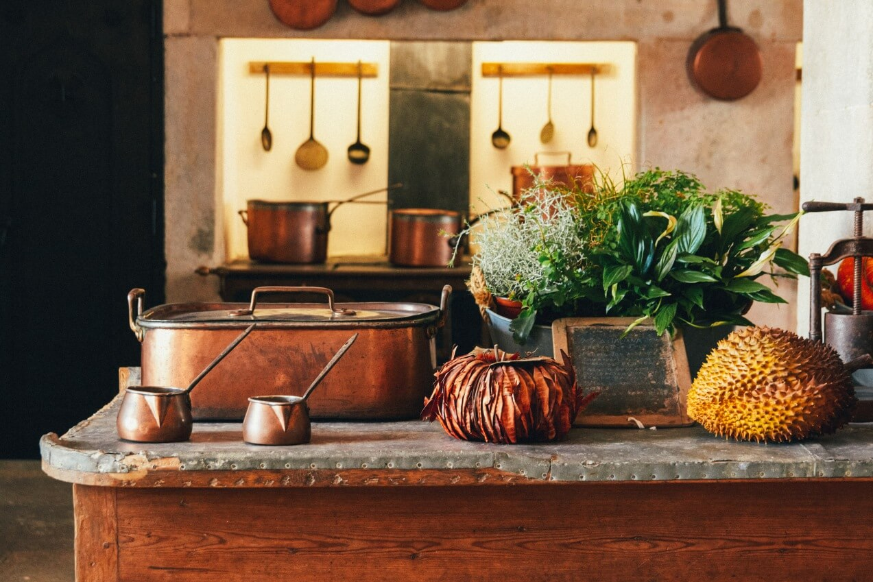 Vintage kitchen flat lay photo. Europe Graphic Design and Web development